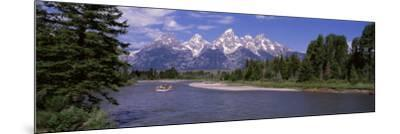 Inflatable Raft in a River, Grand Teton National Park, Wyoming, USA--Mounted Photographic Print