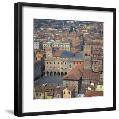 Aerial View over Central Bologna, Emilia-Romagna, Italy, Europe-Tony Gervis-Framed Photographic Print