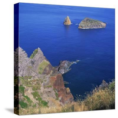 Rock Formations on the Volcanic Coastline on the Island of Graciosa in the Azores, Portugal-David Lomax-Stretched Canvas Print