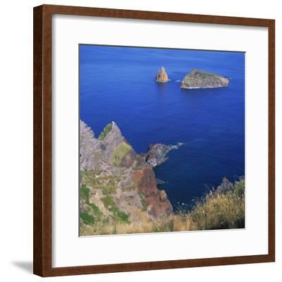 Rock Formations on the Volcanic Coastline on the Island of Graciosa in the Azores, Portugal-David Lomax-Framed Photographic Print