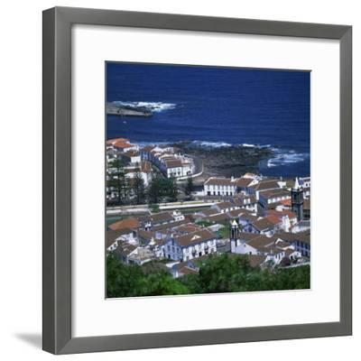 Houses and Coastline in the Town of Santa Cruz on the Island of Graciosa in the Azores, Portugal-David Lomax-Framed Photographic Print