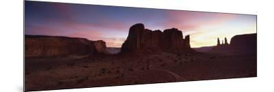 View Towards the Three Sisters at Dusk, Monument Valley Tribal Park, Arizona, USA-Lee Frost-Mounted Photographic Print
