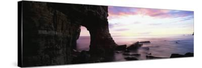 Dawn View over North Sea from Beach at Marsden Bay, South Shields, Tyne and Wear, England, UK-Lee Frost-Stretched Canvas Print