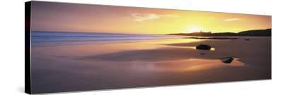 Embleton Bay at Sunrise, Dunstanburgh Castle in the Distance, Near Alwick, Northumberland, England-Lee Frost-Stretched Canvas Print