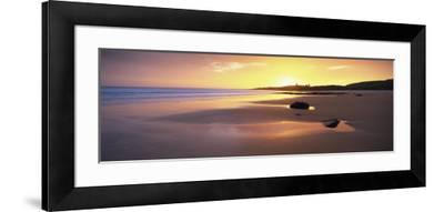 Embleton Bay at Sunrise, Dunstanburgh Castle in the Distance, Near Alwick, Northumberland, England-Lee Frost-Framed Photographic Print