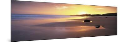 Embleton Bay at Sunrise, Dunstanburgh Castle in the Distance, Near Alwick, Northumberland, England-Lee Frost-Mounted Photographic Print