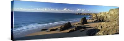 View of Bedruthan Steps and Beach, Near Newquay, Cornwall, England, United Kingdom, Europe-Lee Frost-Stretched Canvas Print