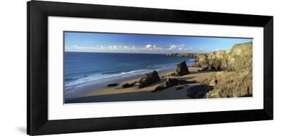 View of Bedruthan Steps and Beach, Near Newquay, Cornwall, England, United Kingdom, Europe-Lee Frost-Framed Photographic Print