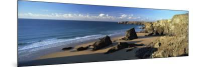 View of Bedruthan Steps and Beach, Near Newquay, Cornwall, England, United Kingdom, Europe-Lee Frost-Mounted Photographic Print