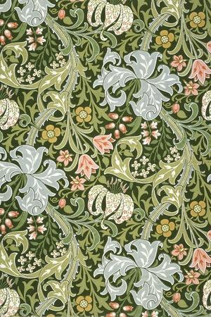 Golden Lily Wallpaper, Paper, England, Late 19th Century-William Morris-Stretched Canvas Print