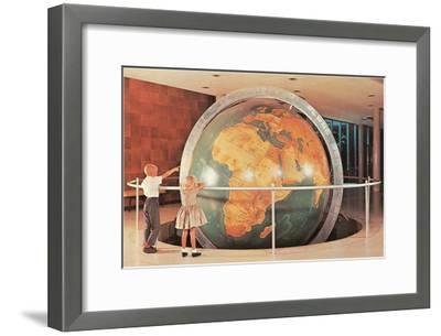 Children Looking at Giant Globe--Framed Art Print