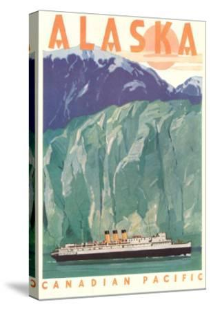 Cruise Liner by Alaskan Glacier--Stretched Canvas Print