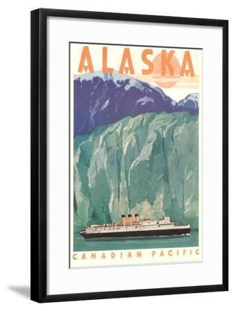 Cruise Liner by Alaskan Glacier--Framed Art Print
