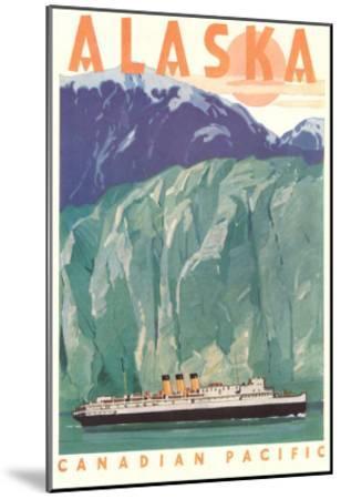 Cruise Liner by Alaskan Glacier--Mounted Art Print