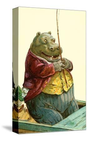 Hippo in Three-Piece Suit Fishing--Stretched Canvas Print