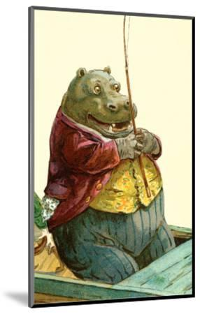 Hippo in Three-Piece Suit Fishing--Mounted Art Print