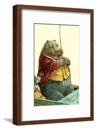 Hippo in Three-Piece Suit Fishing--Framed Art Print