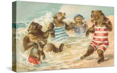 Bear Family Frolicking in Surf--Stretched Canvas Print