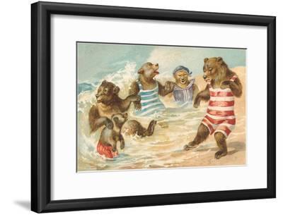 Bear Family Frolicking in Surf--Framed Art Print