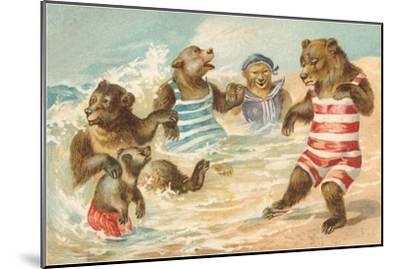 Bear Family Frolicking in Surf--Mounted Art Print