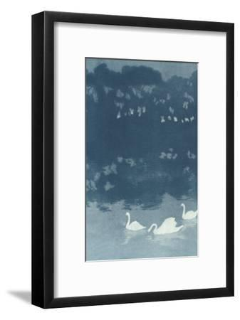 Swans in Dusk--Framed Art Print