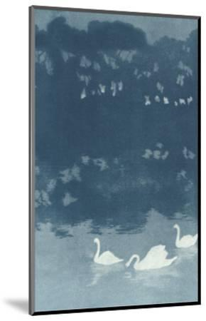 Swans in Dusk--Mounted Art Print