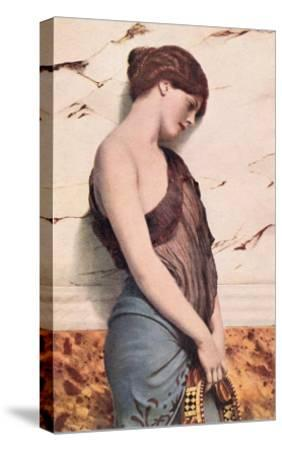 Pensive Gypsy Woman with Tambourine--Stretched Canvas Print