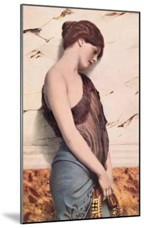 Pensive Gypsy Woman with Tambourine--Mounted Art Print