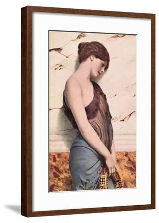 Pensive Gypsy Woman with Tambourine--Framed Art Print