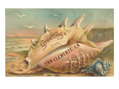 Conch Shell Greetings from San Clemente--Framed Art Print