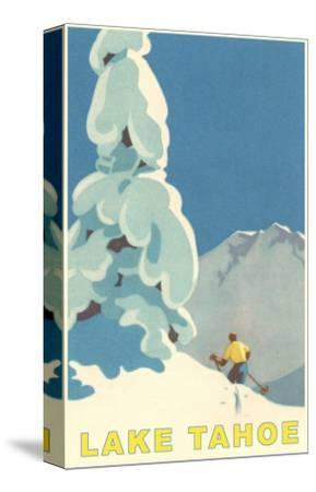 Big Snowy Tree and Skier, Lake Tahoe--Stretched Canvas Print