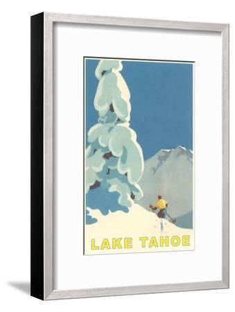 Big Snowy Tree and Skier, Lake Tahoe--Framed Premium Giclee Print