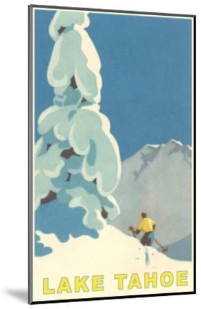 Big Snowy Tree and Skier, Lake Tahoe--Mounted Premium Giclee Print