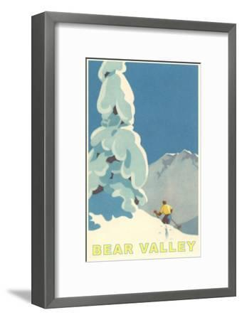 Big Snowy Pine Tree and Skier, Bear Valley--Framed Premium Giclee Print