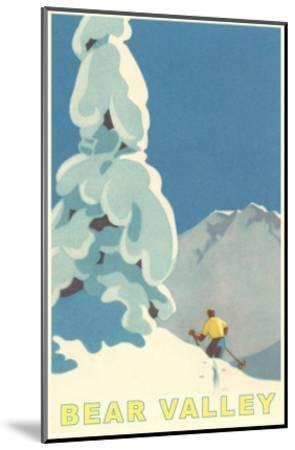 Big Snowy Pine Tree and Skier, Bear Valley--Mounted Premium Giclee Print