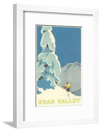 Big Snowy Pine Tree and Skier, Bear Valley--Framed Art Print