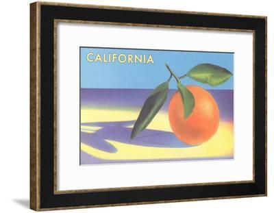 Single Orange with Blue Shadow, Calfornia--Framed Art Print