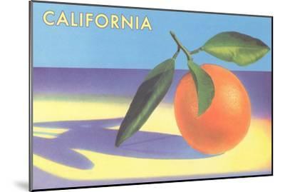 Single Orange with Blue Shadow, Calfornia--Mounted Art Print