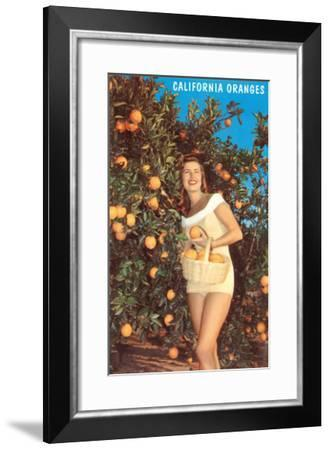 Woman with Oranges in Basket, California--Framed Art Print