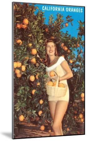 Woman with Oranges in Basket, California--Mounted Art Print
