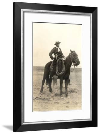 Photo of Cowboy on Horse--Framed Art Print