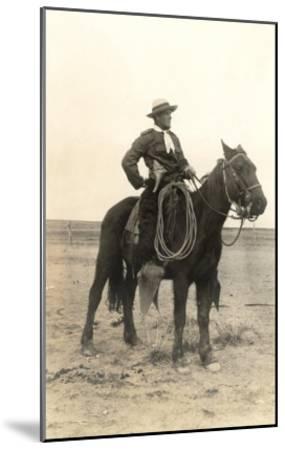 Photo of Cowboy on Horse--Mounted Art Print