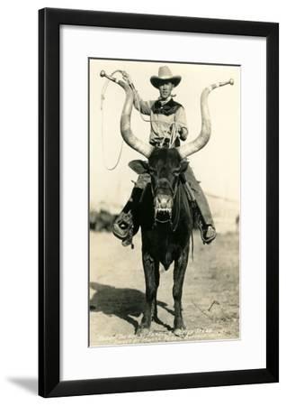 Man Riding Lyre-Horned Steer--Framed Art Print