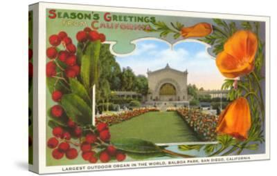 Organ Pavilion, San Diego, Season's Greetings--Stretched Canvas Print