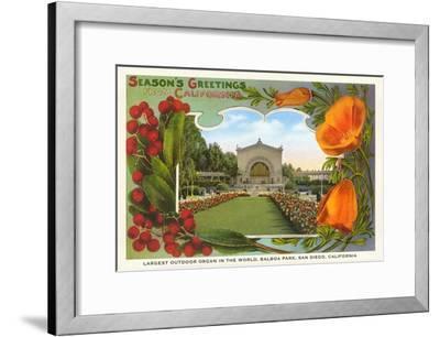 Organ Pavilion, San Diego, Season's Greetings--Framed Art Print