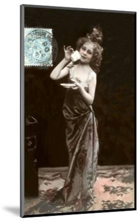 Girl in Dress-Up with Coffee Cup--Mounted Art Print
