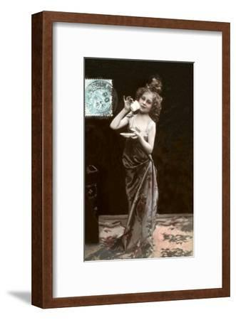 Girl in Dress-Up with Coffee Cup--Framed Art Print