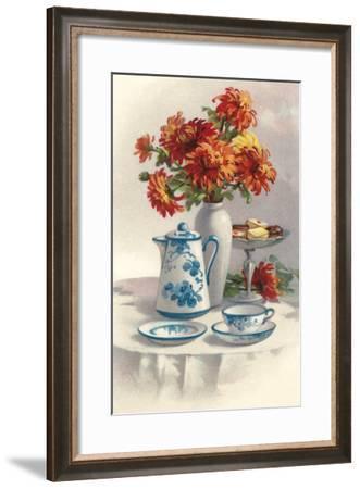 Coffee Pot with Chyrsanthemums--Framed Art Print