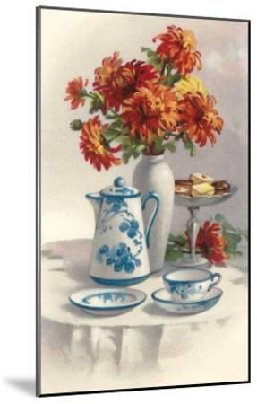 Coffee Pot with Chyrsanthemums--Mounted Art Print