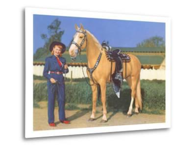 Cowgirl in Blue with Palomino--Metal Print